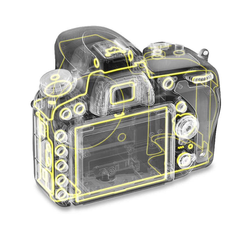 Nikon D750 weather sealing diagram rear